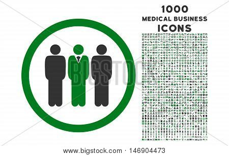 Clerk Staff rounded glyph bicolor icon with 1000 medical business icons. Set style is flat pictograms, green and gray colors, white background.