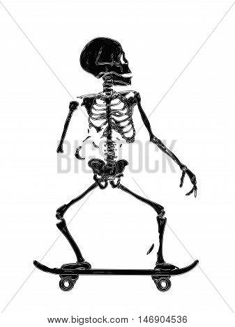 Skeleton Skating Vector illustration print isolated on white background