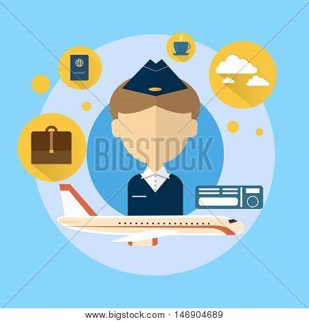 Steward Airport Crew Icon Flat Vector Illustration