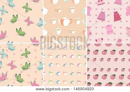 Set of seamless patterns and backgrounds in pink with butterflies cups apples baby dress. Pastel shades, color of a tea rose. Vector illustration.