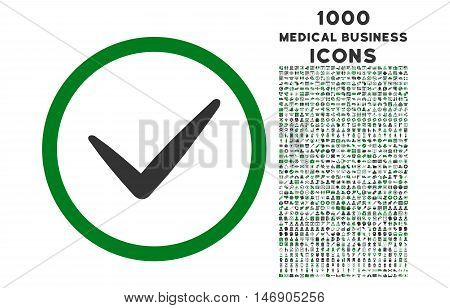 Valid rounded glyph bicolor icon with 1000 medical business icons. Set style is flat pictograms, green and gray colors, white background.