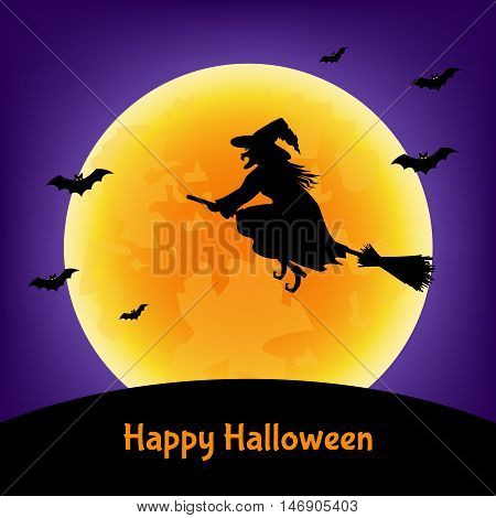 Halloween witch bats and moon background. Vector illustration for card flyer or party invitation.
