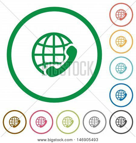Set of international call color round outlined flat icons on white background
