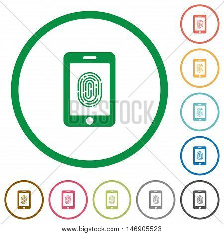 Set of smartphone fingerprint identification color round outlined flat icons on white background