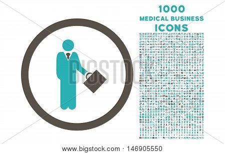 Businessman rounded glyph bicolor icon with 1000 medical business icons. Set style is flat pictograms, grey and cyan colors, white background.