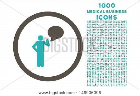 Person Idea rounded glyph bicolor icon with 1000 medical business icons. Set style is flat pictograms, grey and cyan colors, white background.
