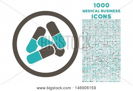 Pills rounded glyph bicolor icon with 1000 medical business icons. Set style is flat pictograms, grey and cyan colors, white background.