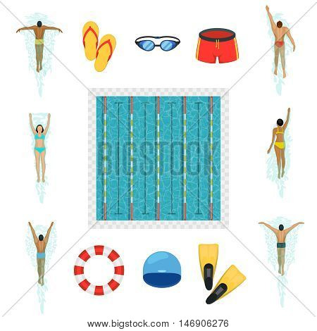Swimming activity flat icons. Swimmers and pool, goggles, swimsuit, fins and life buoy, vector illustration