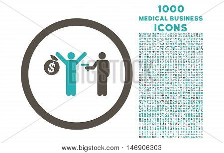 Robbery rounded glyph bicolor icon with 1000 medical business icons. Set style is flat pictograms, grey and cyan colors, white background.