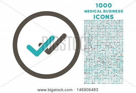 Validation rounded glyph bicolor icon with 1000 medical business icons. Set style is flat pictograms, grey and cyan colors, white background.