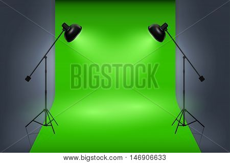 Vector green screen studio interior with spotlights. Empty photo studio professional work, illustration interior studio with lamp and green backdrop