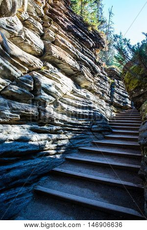 Athabasca Falls Stairs, Icefield Parkway, Jasper National Park