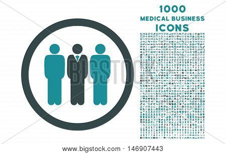 Clerk Staff rounded glyph bicolor icon with 1000 medical business icons. Set style is flat pictograms, soft blue colors, white background.