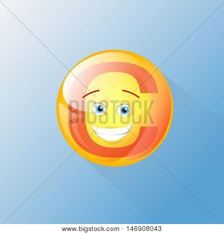 Vitamin C Nutrition Chemistry Element Colorful Icon Smile Face Vector Illustration