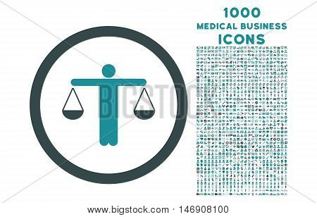 Lawyer rounded glyph bicolor icon with 1000 medical business icons. Set style is flat pictograms, soft blue colors, white background.