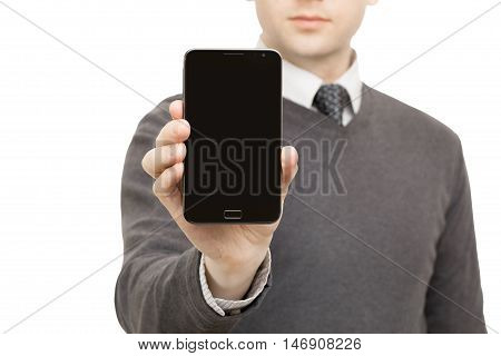 Male holding no brand smart phone in his right hand