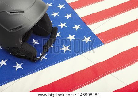 Helmet Over Us Flag As Symbol Of Active Life Style