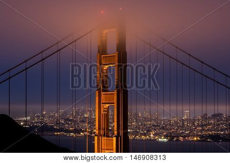 Golden Gate Bridge from Kirby Cove, San Francisco, California, USA. Iconic Golden Gate Bridge with San Francisco City Skyline Closeup in a Foggy Evening.