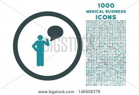 Person Idea rounded glyph bicolor icon with 1000 medical business icons. Set style is flat pictograms, soft blue colors, white background.