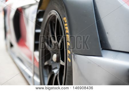 Vallelunga, Rome, Italy. September 10Th 2016. Detail Of Slick Racing Tire With Pirelli Name