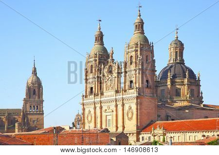 Belfries of the New Cathedral and Clerecia Church in Salamanca, Spain