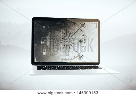 Abstract laptop computer with closed bank vault on screen. Foggy landscape background. Online banking concept. 3D Rendering