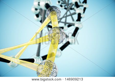 Abstract black and yellow DNA structure on blue background. 3D Rendering