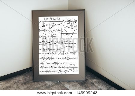 Picture frame with mathematical formulas leaning on concrete wall. 3D Rendering