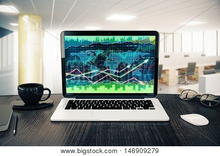 Workplace with forex chart on notebook screen coffee cup computer mouse and glasses in bright office interior. 3D Rendering