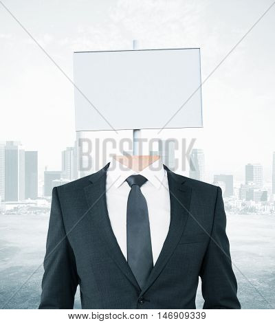 White Signboard Headed Businessman