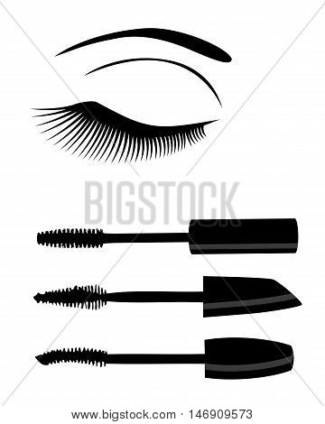 vector illustration of eye with long lashes