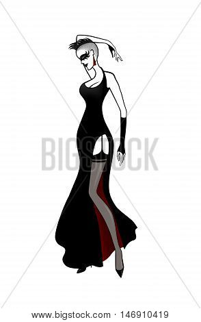 Isolated punk sexy woman in black elegant dress and stockings stylized illustration.