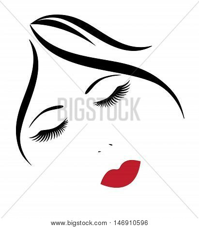 vector illustration of a woman face with red lips