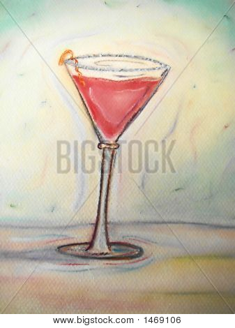 Cosmopolitan Martini Hand Drawn Pastel On Paper