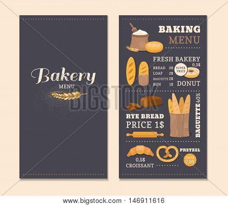 Menu template cafe bakery. Concept of the cover design menu. Collection of vector elements: bread, flour, donut, baguette, croissant. Illustration of baking.