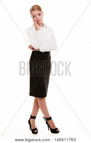 Full Length Of Pensive Thoughtful Young Businesswoman Isolated