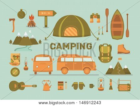 Set of equipment for camping. Adventure outdoors collection elements: tent, minibus, boat, mountains, backpack, binoculars, compass, guitar and other. Activity and travel vector icons.