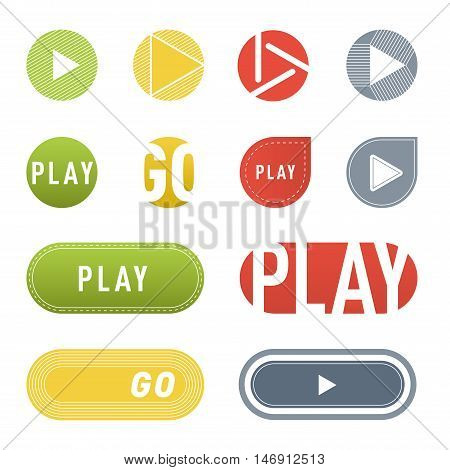 UI interface buttons play media. Vector internet play button player isolated. Website online cinema play button concept. Play button website element sign. Online tube player ui element