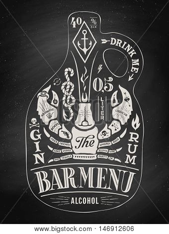 Poster bottle of alcohol with hand drawn lettering. Chalk vintage drawing for pub, bar menu, beer card, t-shirt print and alcohol themes. Bottle of bar menu with lettering. Vector Illustration