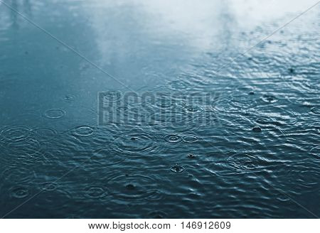 Rain, Autumn, Weather Concept - Puddle And Splashing Water In Rainy Evening