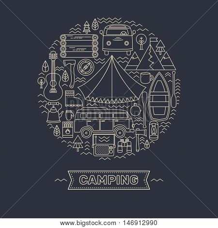 Vector concept with camping symbols. Line icons set of camp. Adventure outdoors collection elements: tent, minibus, boat, mountains, backpack, matches, binoculars, compass, guitar and others.