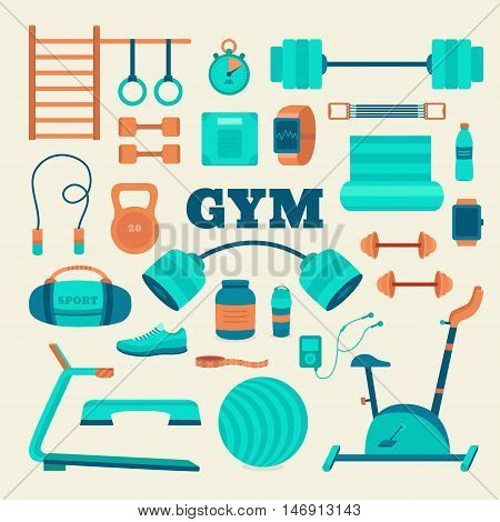 Set of fitness equipment. Big collection of objects gym: barbell, dumbbells, exercise bike, treadmill, sports nutrition, expander, fitball and other. Workouts at the gym vector icons. Flat style.