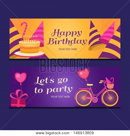 Happy birthday banners collection. Set of greeting templates. Invitation cards to the party. Vector cards with cake, balloons, candy, gifts, caps and bike. Poster let's go to party.