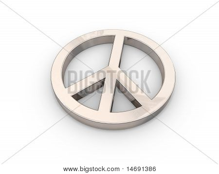3D peace symbol over white