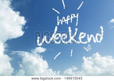 Happy Weekend written in the sky
