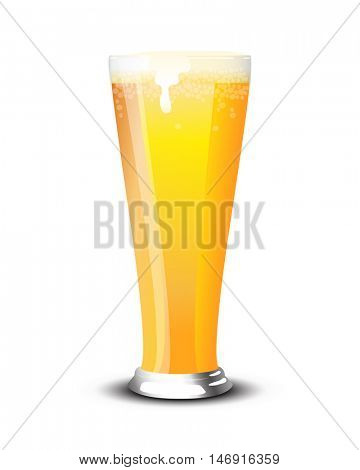 A pint of cold lager over a white background.