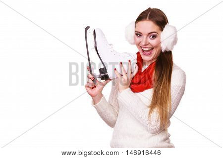 Woman With Earmuffs And Ice Skates.
