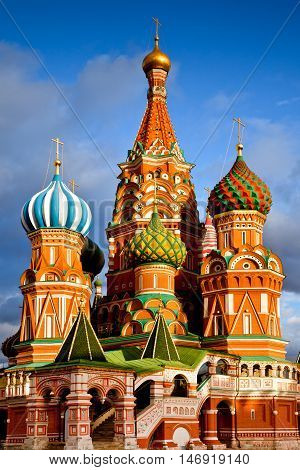 Moscow city view. St. Basil's Cathedral and Minin and Pozhardky monument in Moscow, Russia.