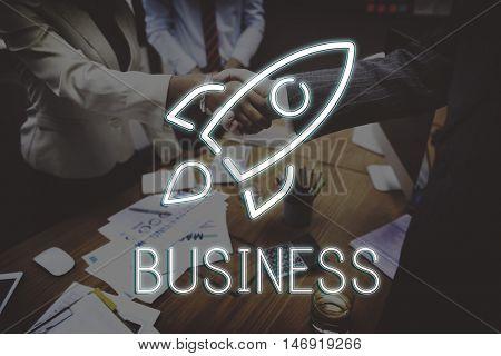 Business Sratup Goals Rocketship Graphic Concept