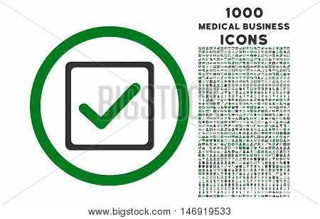 Checkbox rounded vector bicolor icon with 1000 medical business icons. Set style is flat pictograms, green and gray colors, white background.